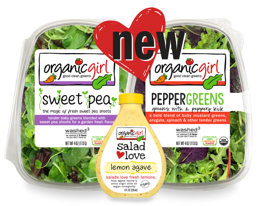 NEW organicgirl sweet pea PEPPERGREENS lemon agave