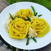 Yellow Pepper Pappardelle with Crab & Asparagus